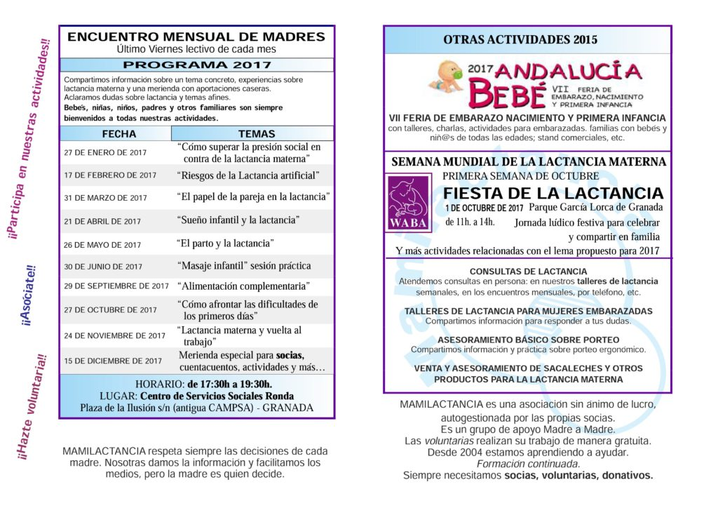 Encuentros mensuales de mamás y bebés para 2017